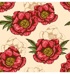 Seamless pattern with red peony vector