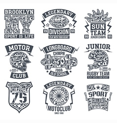 Sport emblem set graphic design for t shirt vector