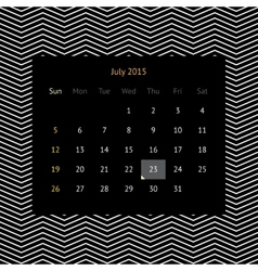 Calendar page for july 2015 vector