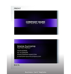 A black and violet colored business card vector