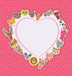 Funny animals card template white heart on pink vector
