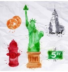 New York symbols crumled paper vector image