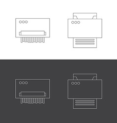Print and shredder flat icons vector