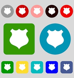 Shield icon sign 12 colored buttons flat design vector