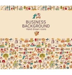 Business background doodles hand drawn color icons vector