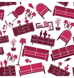 Seamless pattern of interior and furniture vector