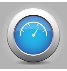 Blue metal button with dial symbol vector