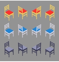 Isometric colored chairs vector