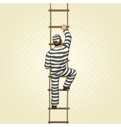 Prisoner crawling on a rope ladder pop art vector