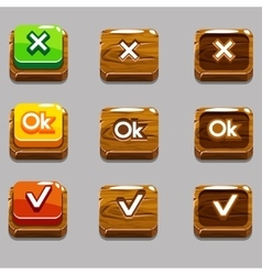 Wood square buttons for game  okyes close vector