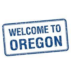 Welcome to oregon blue grunge square stamp vector