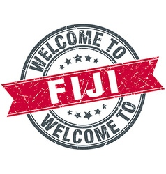 Welcome to fiji red round vintage stamp vector