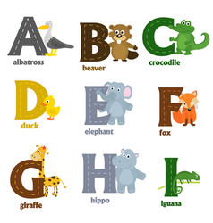 Alphabet with animals a to i vector