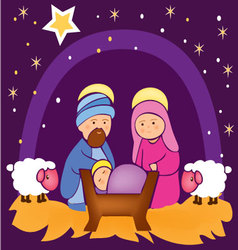Baby Jesus in a manger 4 vector image vector image