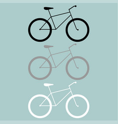 bicycle black grey white icon vector image