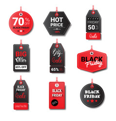 black friday sale tags collection isolated on vector image