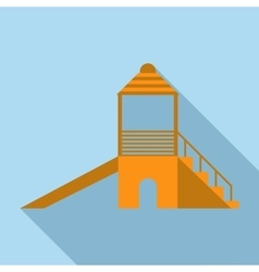 Children slide at a playground icon flat style vector