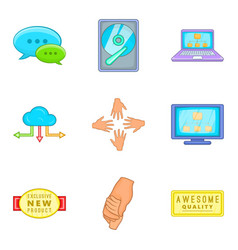 client support icon set cartoon style vector image