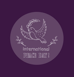Dove as symbol of international peace day vector