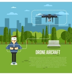 Drone aircraft template with flying robot vector image vector image