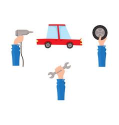 flat car service maintenance icons set vector image vector image