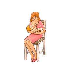 Flat girl sitting at chair with infant baby vector