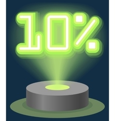 Green Neon Light Discount Sale 10 Percent vector image vector image