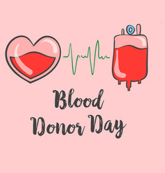Hand draw blood donor day doodle style vector