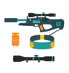 Laser tag game set in flat style vector