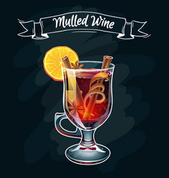Mulled wine autumn drink vector