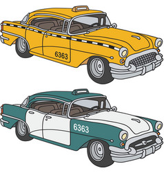 Old taxi cabs vector image vector image