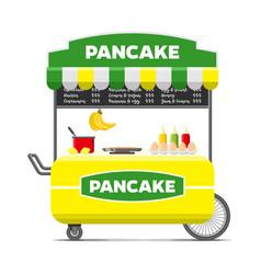 pancake street food cart colorful image vector image vector image