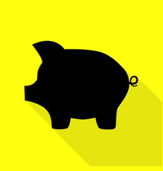 Pig money bank sign black icon with flat style vector