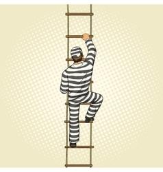 Prisoner crawling on a rope ladder pop art vector image vector image