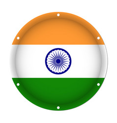 Round metallic flag of india with screw holes vector