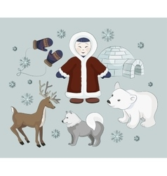 Set of eskimo characters vector