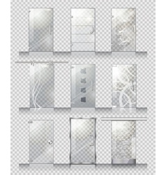 Set of Various Types of Contemporary Glass Doors vector image vector image