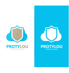 shield and cloud logo combination vector image vector image