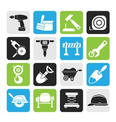 Silhouette building and construction icons vector image