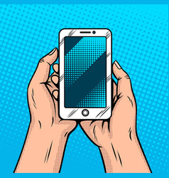 smart phone in hands comic book style vector image vector image