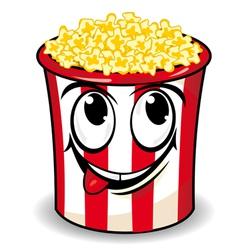 Smiling cartoon popcorn vector