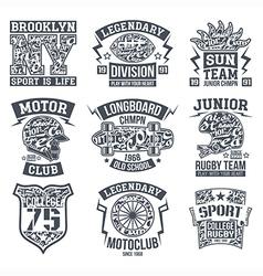 Sport emblem set graphic design for t shirt vector image vector image