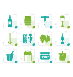 stylized wine and drink icons vector image