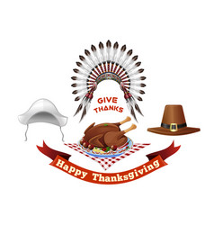 thanksgiving day symbols set vector image vector image