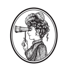 Vintage woman with binocular vector