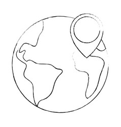 world planet earth with pin pointer vector image