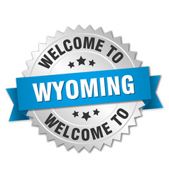 Wyoming 3d silver badge with blue ribbon vector