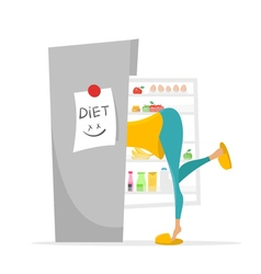 Girl searching something to eat in the fridge vector