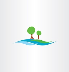 River water flow and tree landscape icon vector