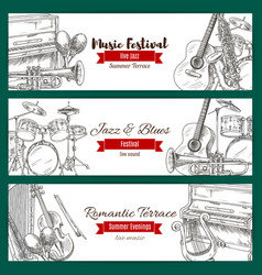 music festival banner set with music instrument vector image